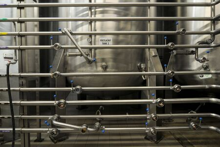 fermenting: Stainless steel reservoirs for beer