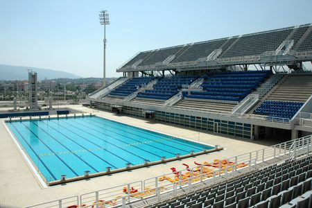 olympics: Swimming Pool at the Olympic Stadium in Athens (Greece) Editorial
