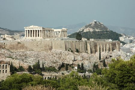 Acropolis and Mount Lycabettus in Athens (Greece)