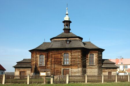 restored: Old wooden church Saint George in Loucna Hora Stock Photo