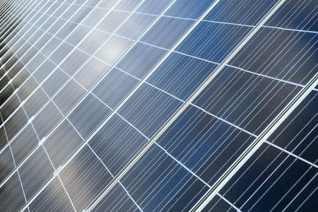 monocrystalline: Photovoltaic cells in a solar panel - perspective view