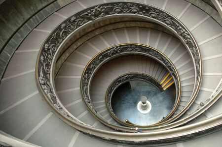 museums: Staircase in Vatican museum - a wide angle view
