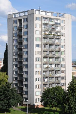 block of flats: Typical socialist block of flats in Breclav (Czech Republic) Stock Photo