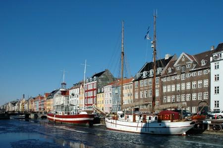 Nyhavn harbour in winter (Copenhagen, Denmark)  Stock Photo