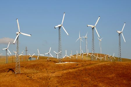 A group of windmills on Altamont Pass, California, USA Stock Photo