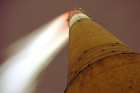 Old brick chimney of a thermal power plant