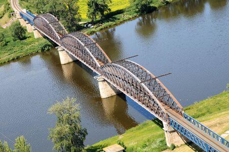Rail Bridge - an aerial view Stock Photo