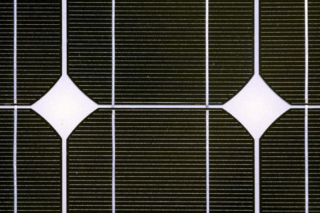 monocrystalline: Photovoltaic cell in a solar panel  Stock Photo