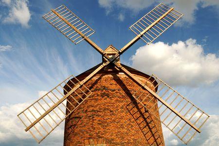 Windmill in Chvalkovice - a closeup of blade (Czech Republic) Stock Photo