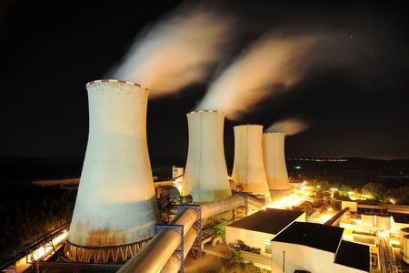 Cooling towers of a power plant Stock Photo