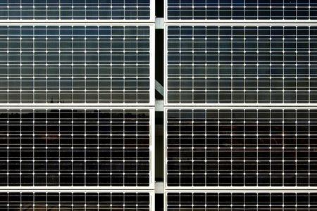 monocrystalline: Photovoltaic cells in a solar panel