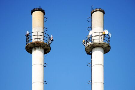 Thermal plant with two chimneys