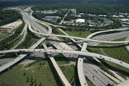 Aerial view of a cpmplex interstate interchange in Atlanta, Ga.