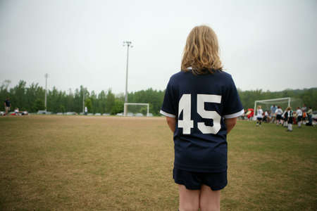 Young female soccer player  footballer Stock Photo