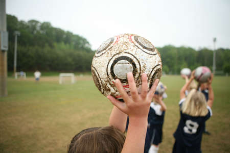 Girls soccer ball or football Stock Photo