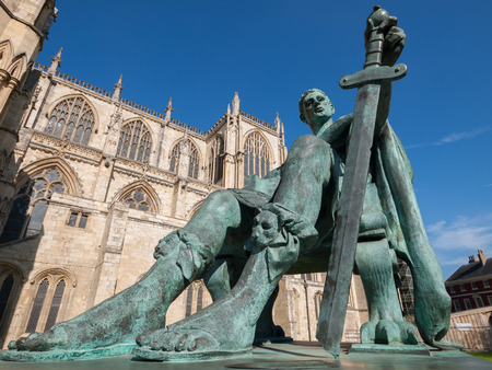 york minster: Statue of Constantine the Great outside York Minster