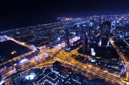 sheik: downtown dubai city lights sheik zayed road Stock Photo