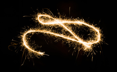 sparkler light trail in dark environment using slow shutter speed