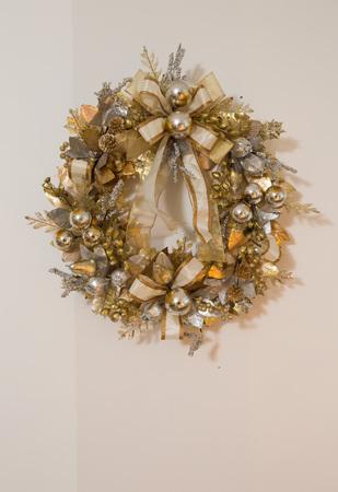 animal angelic: golden christmas xmas decorations with wreath Stock Photo