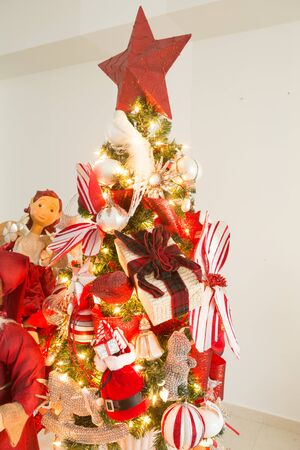 animal angelic: golden christmas xmas decorations with wreath and christmas tree