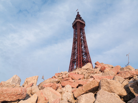 blackpool tower in an urban post apocalyptic  rubble setting.