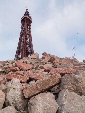 apocalyptic: blackpool tower in an urban post apocalyptic  rubble setting.