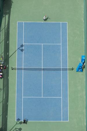 birds eye view: ariel view of a tennis court birds eye view