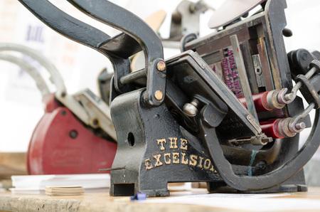 excelsior old vintage retro type print black machine Stock Photo