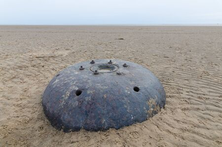 landmine: big metal world war underwater contact mine on a beach Stock Photo