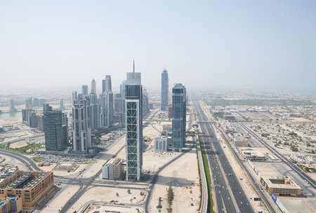 zayed: sheik zayed road photographed from the al hikma tower rooftop
