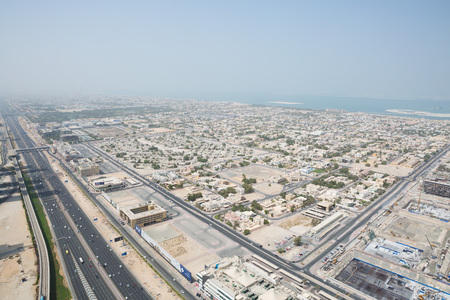 sheik: sheik zayed road photographed from the al hikma tower rooftop