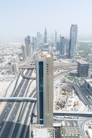 sheik: sheik zayed road and downtown photographed from the al hikma tower rooftop