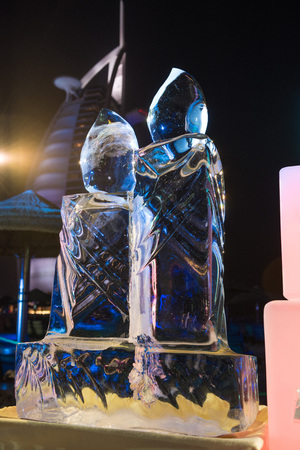 ice sculpture: exquisite hand made ice sculpture at a beach brunch in dubai, use