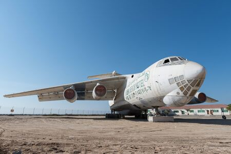 bout: abandoned Soviet cargo plane left in the desert in Umm Al Quwains unused airfield