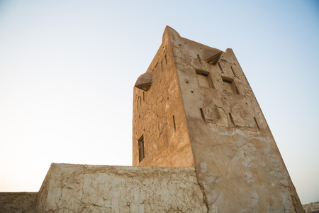 ras: Traditional fort tower,Old Ras Al Khaimah abandoned ghost town, Al Jazirah Al Hamra