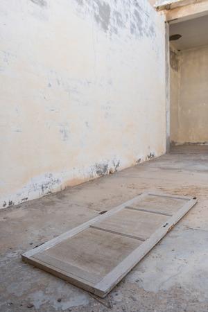 al: Old antique door, Old Ras Al Khaimah abandoned ghost town, Al Jazirah Al Hamra Stock Photo