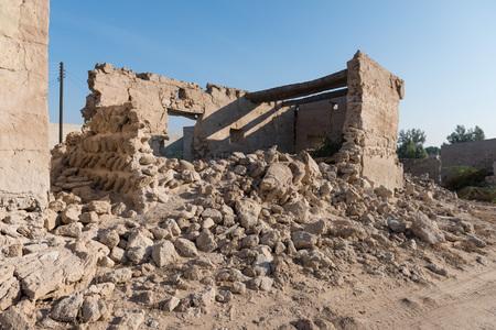 ghost town: Coral house and broken wall, Old Ras Al Khaimah abandoned ghost town, Al Jazirah Al Hamra