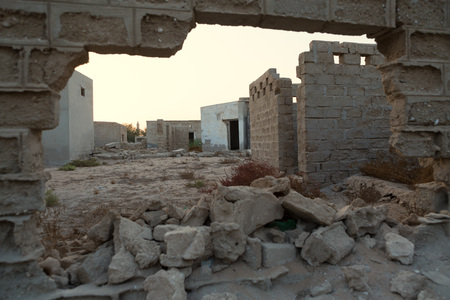 left behind: Traditional wall made of sand and coral, Old Ras Al Khaimah abandoned ghost town, Al Jazirah Al Hamra