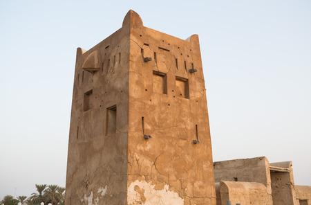 ghost town: Traditional fort tower,Old Ras Al Khaimah abandoned ghost town, Al Jazirah Al Hamra