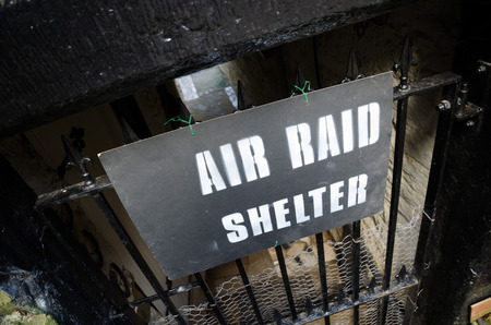 raid: Air raid shelter sign, Howarth 1940s weekend town takeover