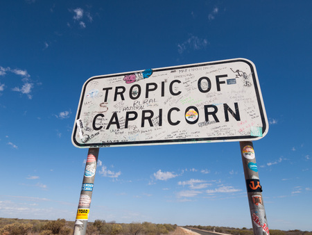 in wa: Western Australia, WA, 02122015, Tropic of capricorn metal sign marker, Western Australia. Stock Photo