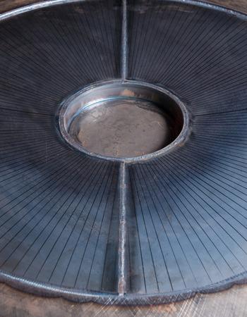 steel works: Mettalic blue metal plate in a metal work factory