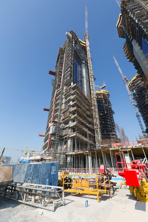 ariel: United Arab Emirates, Dubai, 05212015, Damac Towers Dubai by Paramount, construction and building ariel views with cityscape background Editorial