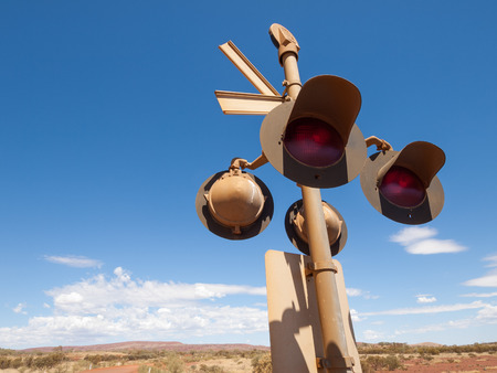 wildwest: Australia, Northern territory, Outback railroad crossing signal lights