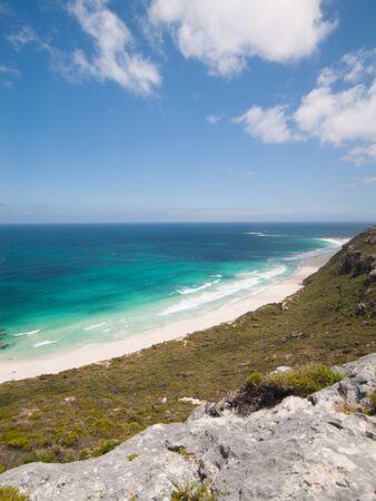 western australia: Margaret River, Western Australia, Margaret River surf beach with perfect blue sky taken from above.