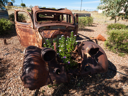 junked: Australia, Queensland, Bundaberg, Rusty old vintage car wreck with colourful plants and flowers growing in the bonnet. Stock Photo