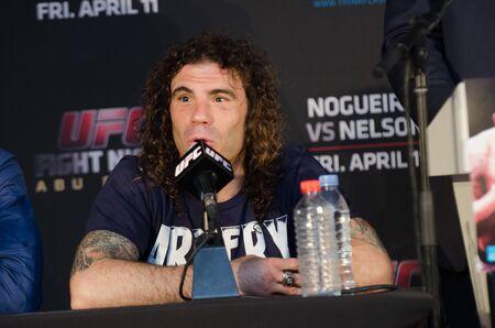 punch press: United Arab Emirates, Abu Dhabi, 04112014, UFC fight night ,  Abu Dhabi, Nogueria vs Nelson post fight press conference. Clay Guida Editorial