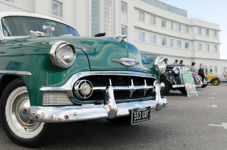 chevrolet: England, Morecambe, 08162015, Vintage by the sea weekend at the Midland Hotel,Retro Chevrolet car. Editorial