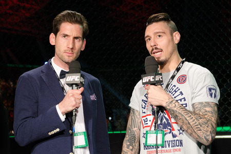 hardy: United Arab Emirates, Abu Dhabi, 04112014, UFC fight night ,  Abu Dhabi, Nogueria vs Nelson overhead, commentators Dan Hardy and John Gooden