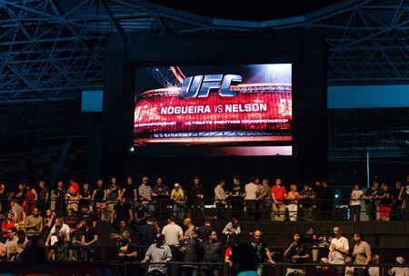 ultimate: United Arab Emirates, Abu Dhabi, 04112014, UFC fight night ,  Abu Dhabi, Nogueria vs Nelson digital screen and crowd.
